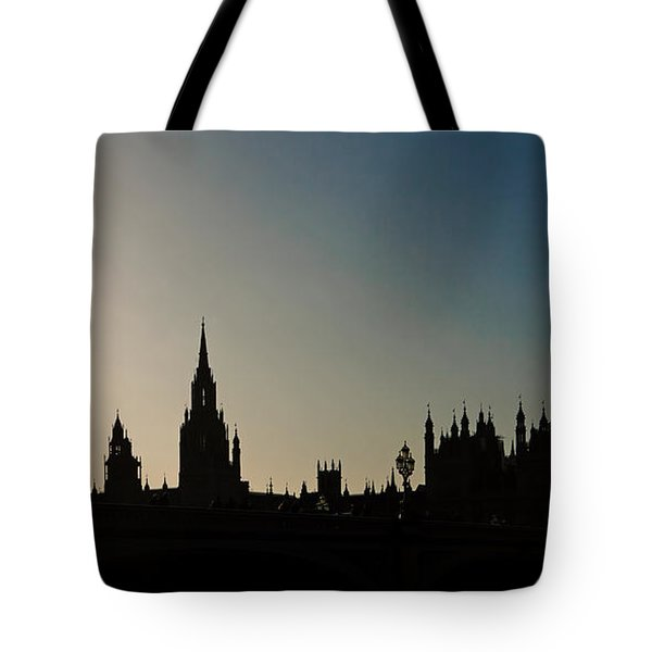 Houses Of Parliament Skyline In Silhouette Tote Bag