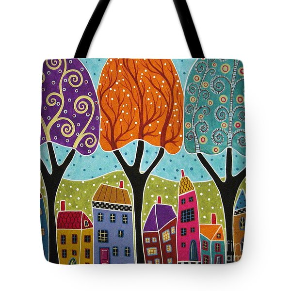 Houses Trees Folk Art Abstract  Tote Bag by Karla Gerard