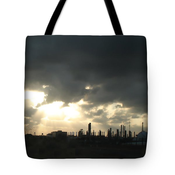 Tote Bag featuring the photograph Houston Refinery At Dusk by Connie Fox
