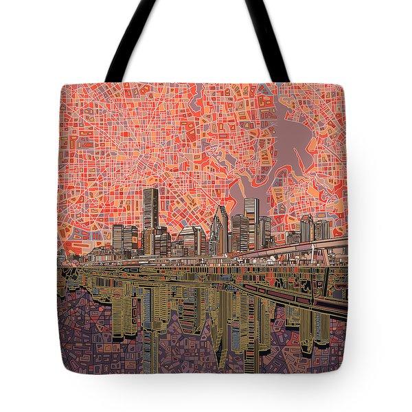 Houston Skyline Abstract 5 Tote Bag