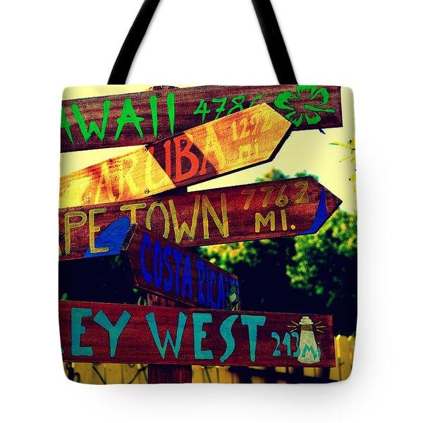 How Far Is It To Key West Tote Bag by Susanne Van Hulst