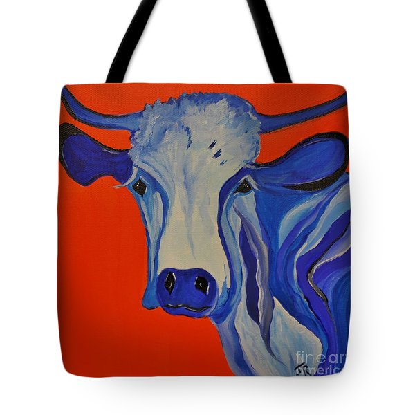 How Now Blue Cow Tote Bag by Janice Rae Pariza