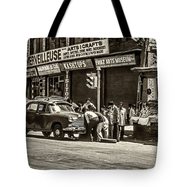 How To Change A Tire Sepia Tote Bag by Steve Harrington