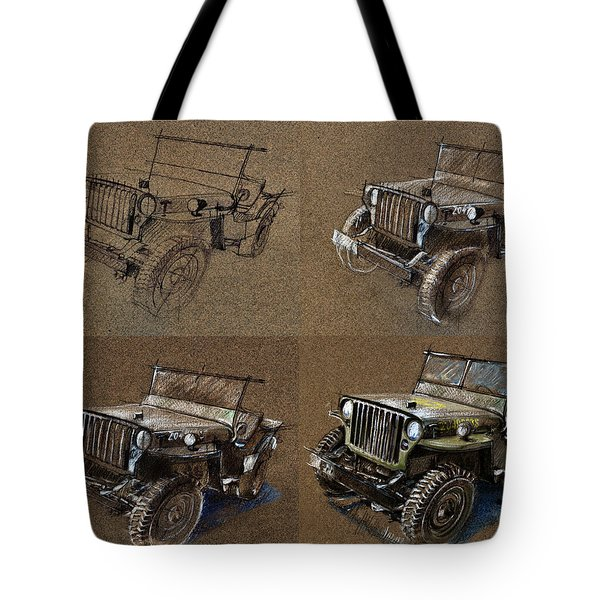 How To Draw A 1943 Willys Jeep Mb Car Tote Bag by Daliana Pacuraru