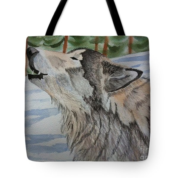 Howling Wolf In Winter Tote Bag