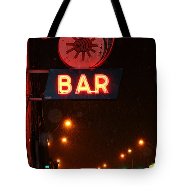 Hub Bar Snowy Night Tote Bag