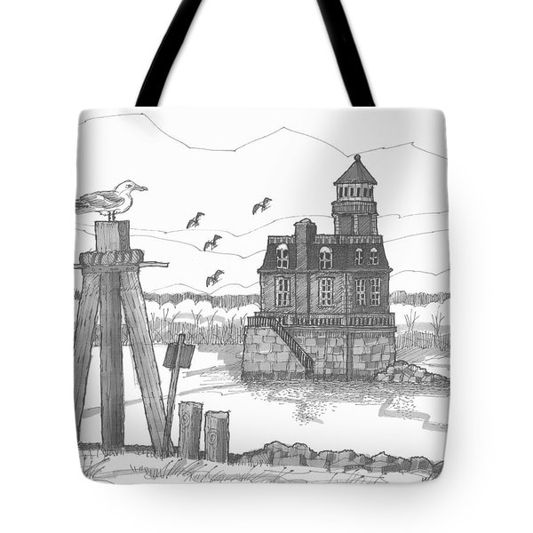 Tote Bag featuring the drawing Hudson-athens Lighthouse by Richard Wambach