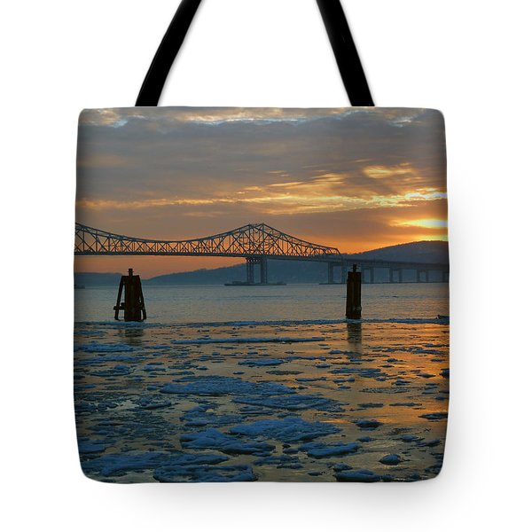 Hudson River Icey Sunset Tote Bag by Jeffrey Friedkin