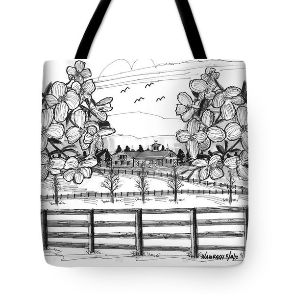 Tote Bag featuring the drawing Hudson Valley Apple Blossoms by Richard Wambach