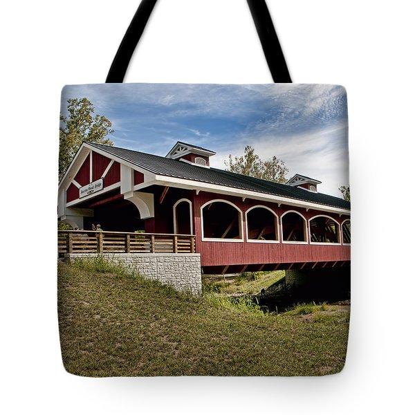Hueston Woods Covered Bridge Tote Bag