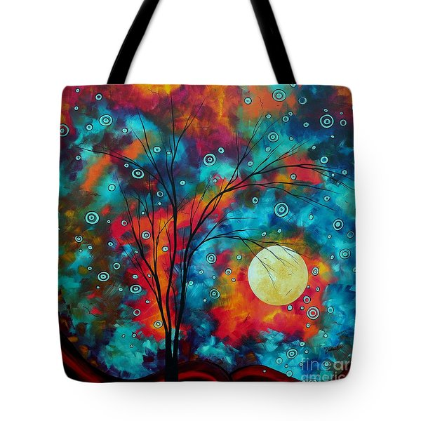 Huge Colorful Abstract Landscape Art Circles Tree Original Painting Delightful By Madart Tote Bag by Megan Duncanson