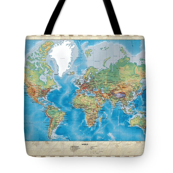 Huge Hi Res Mercator Projection Physical And Political Relief World Map Tote Bag