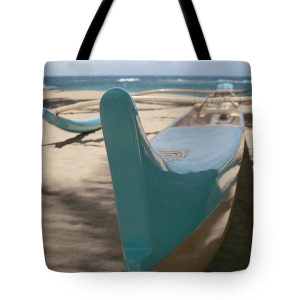 hui o waa Kuau Outrigger Canoe Paia Tote Bag by Sharon Mau