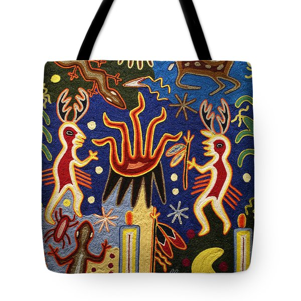 Huichol Yarn Painting Mexico Tote Bag