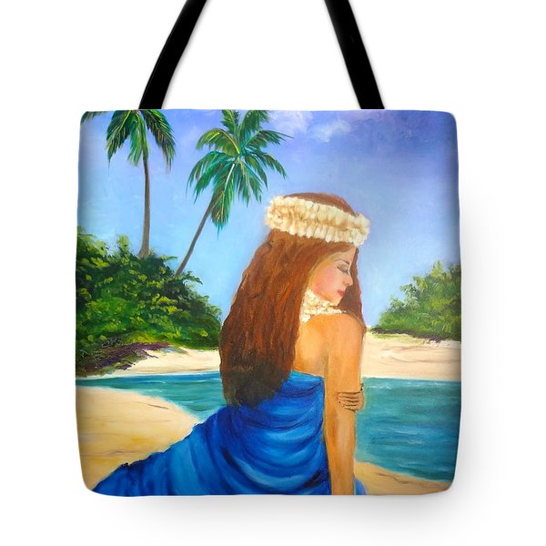 Tote Bag featuring the painting Hula Girl On The Beach by Jenny Lee