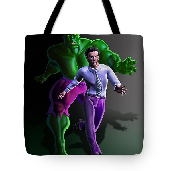 Tote Bag featuring the painting Hulk - Bruce Alter Ego by Anthony Mwangi