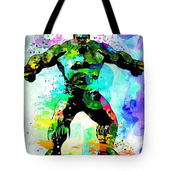 Hulk Watercolor Tote Bag by Daniel Janda