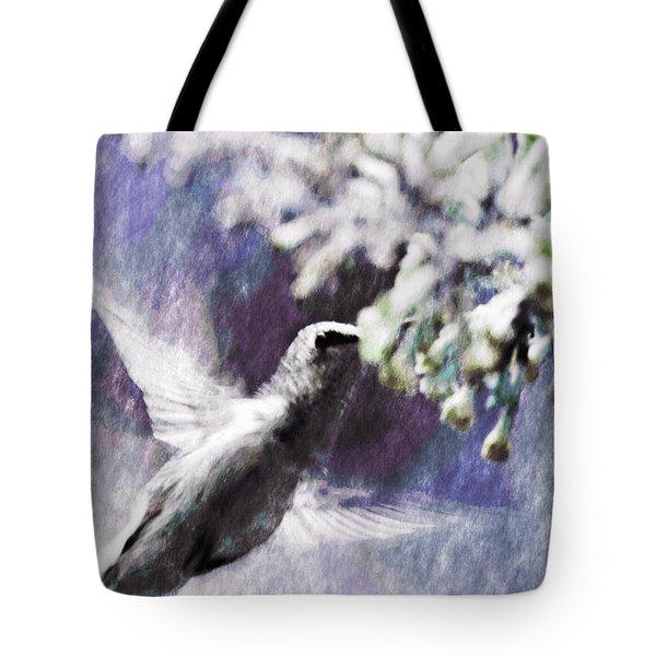 Hummer Feeding Tote Bag by Susan Leggett