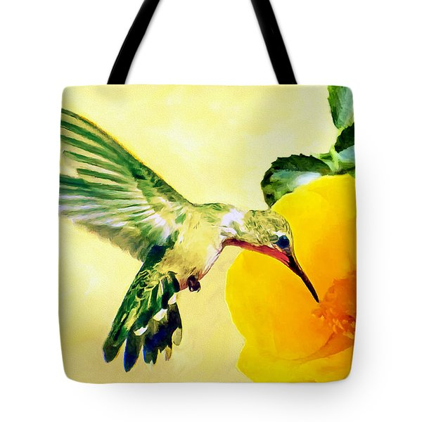 Hummingbird And California Poppy Tote Bag