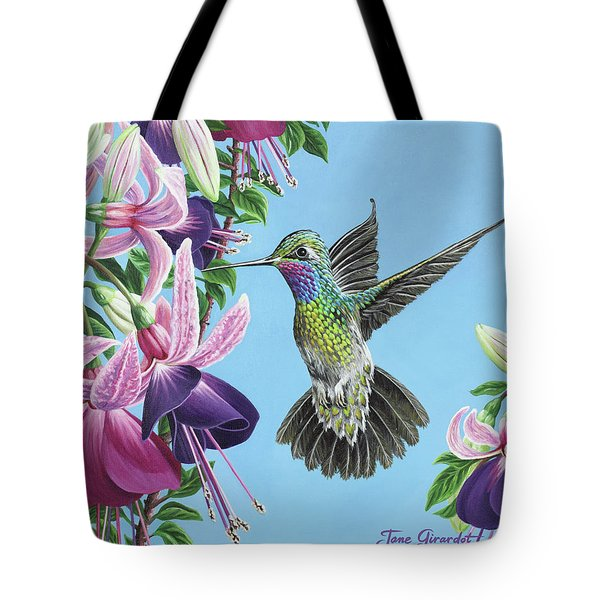 Tote Bag featuring the painting Hummingbird And Fuchsias by Jane Girardot