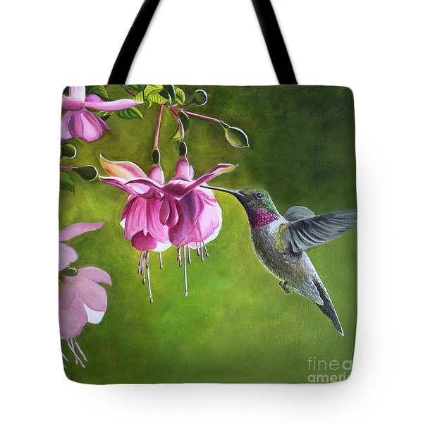 Hummingbird And Fuschia Tote Bag by Debbie Hart