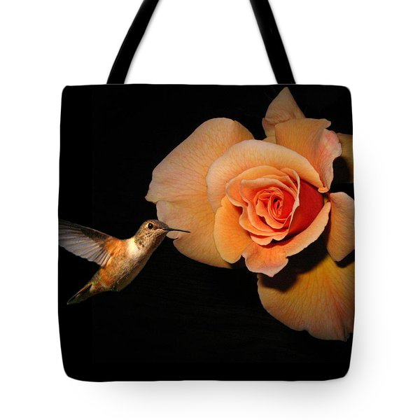 Hummingbird And Orange Rose Tote Bag by Joyce Dickens