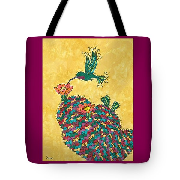 Hummingbird And Prickly Pear Tote Bag by Susie Weber