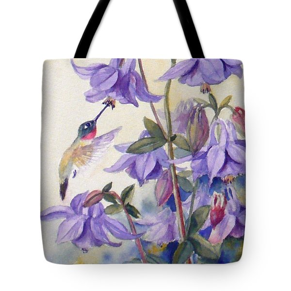 Hummingbird And Purple Columbine Tote Bag