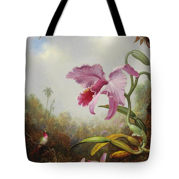 Hummingbird And Two Types Of Orchids Tote Bag