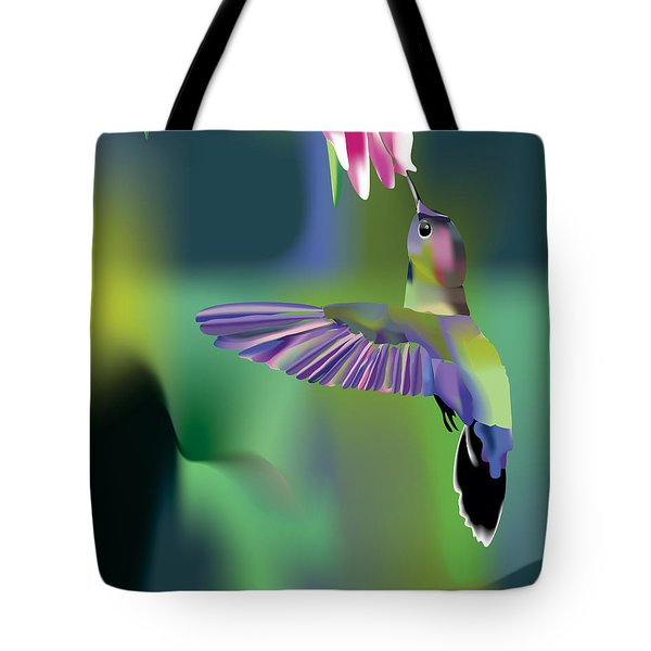 Tote Bag featuring the digital art Hummingbird by Arline Wagner