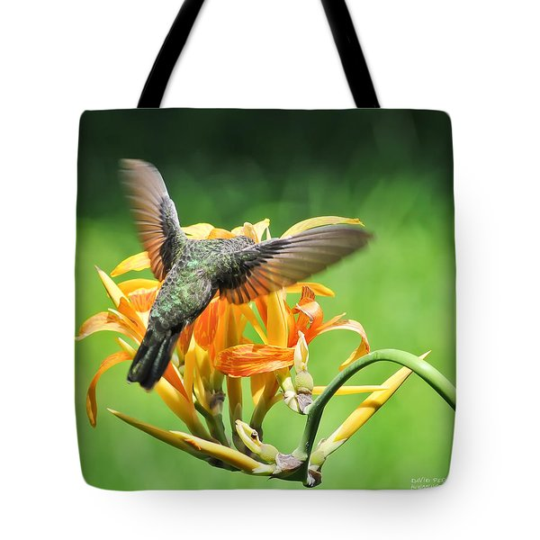Tote Bag featuring the photograph Hummingbird At Lunchtime by David Perry Lawrence
