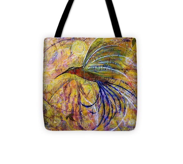 Hummingbird Don't Fly Away Tote Bag by Jane Chesnut
