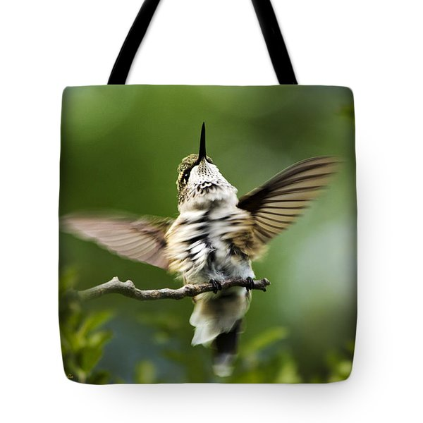 Hummingbird Happy Dance Tote Bag by Christina Rollo