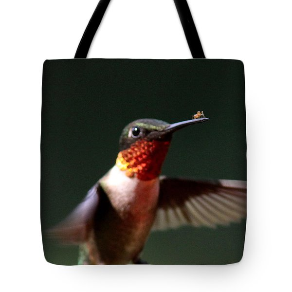 Hummingbird - Hitching A Ride - Ruby-throated Hummingbird Tote Bag by Travis Truelove