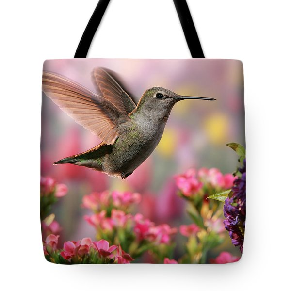 Hummingbird In Colorful Garden Tote Bag by William Lee