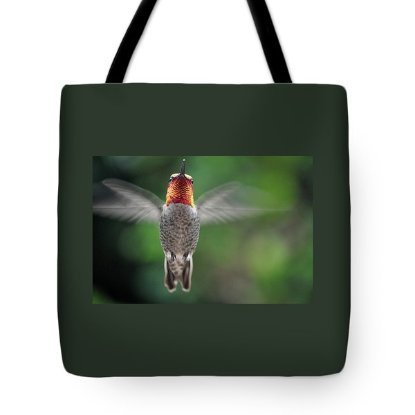 Tote Bag featuring the photograph Hummingbird In Flight Male Anna by Jay Milo