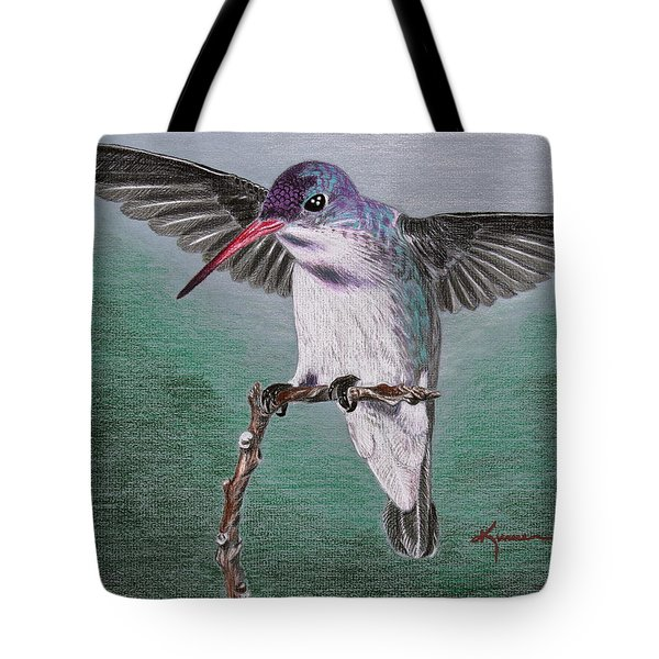 Tote Bag featuring the drawing Hummingbird by Kume Bryant