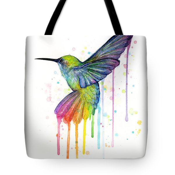 Hummingbird Of Watercolor Rainbow Tote Bag