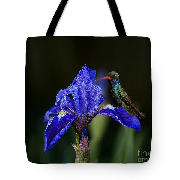 Hummingbird On A Mexican Blue Exotic Flower Tote Bag