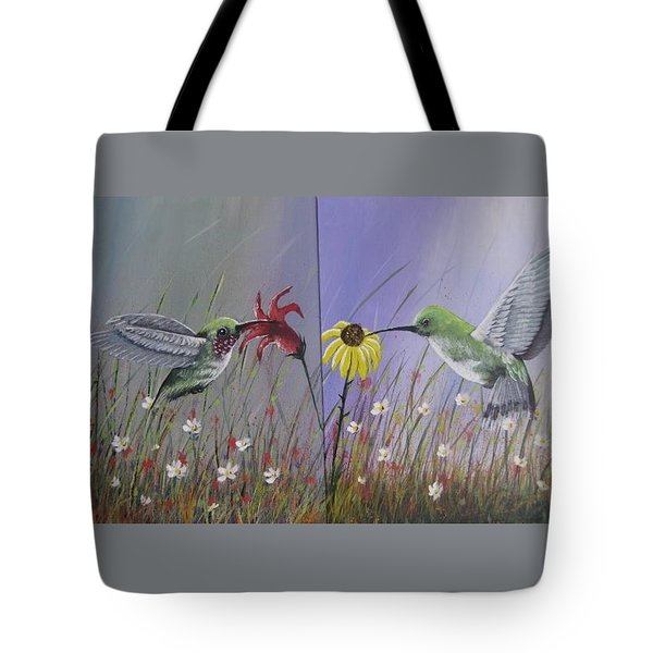 Hummingbird Pair Tote Bag