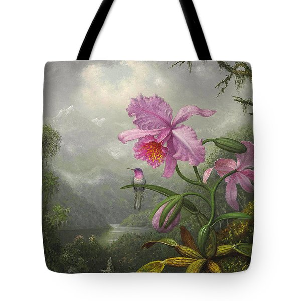 Hummingbird Perched On The Orchid Plant Tote Bag