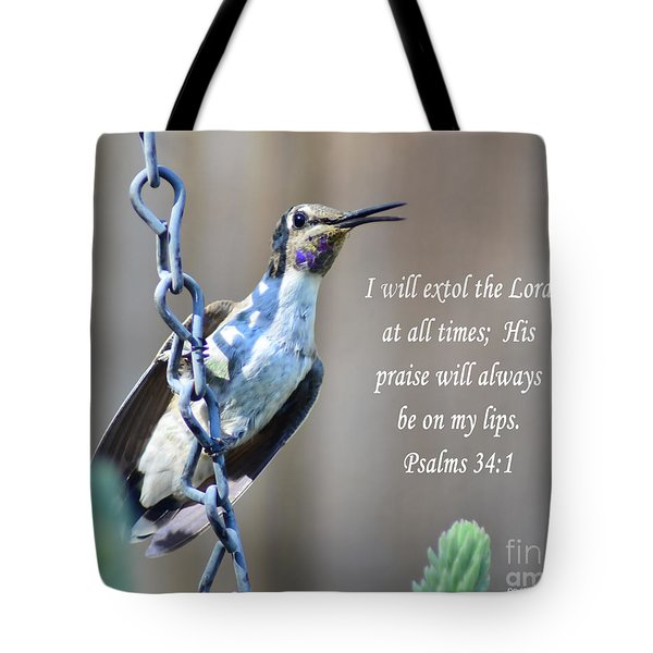 Hummingbird Scripture Tote Bag by Debby Pueschel