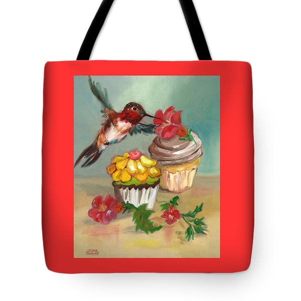 hummingbird with 2 Cupcakes Tote Bag