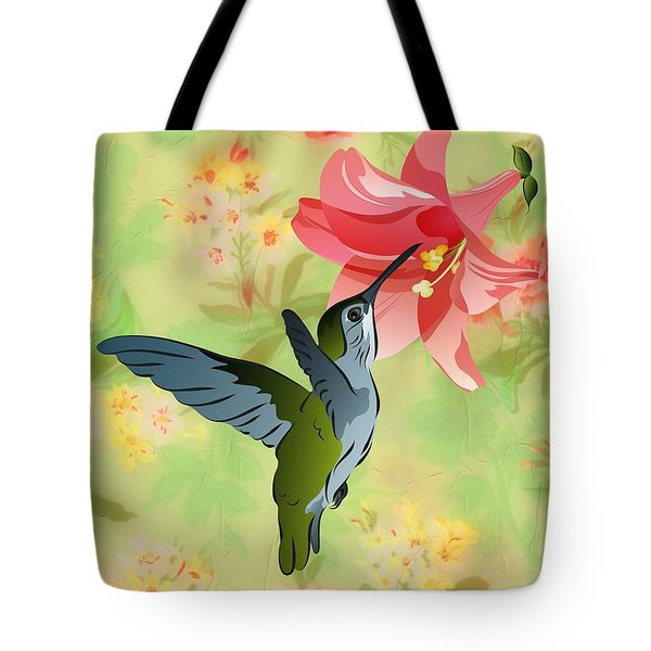 Hummingbird With Pink Lily Against Floral Fabric Tote Bag