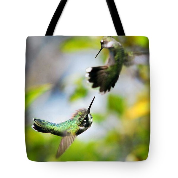 Hummingbirds Ensuing Battle Tote Bag by Christina Rollo