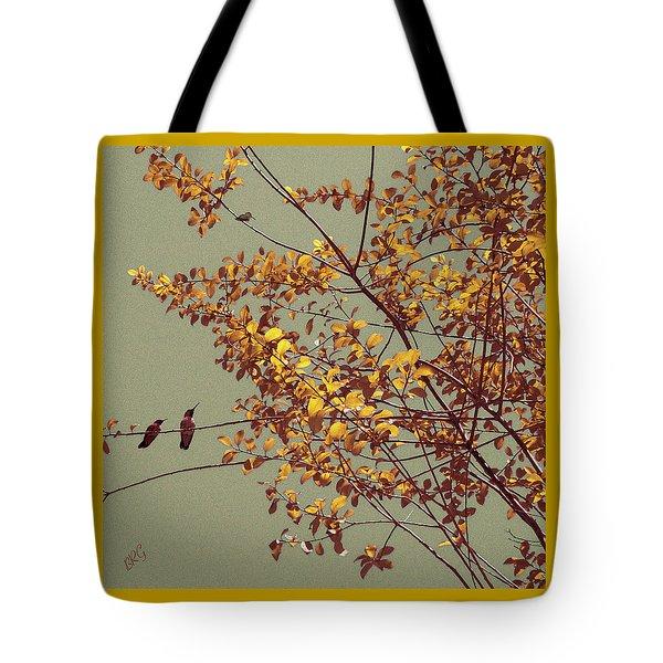 Hummingbirds On Yellow Tree Tote Bag