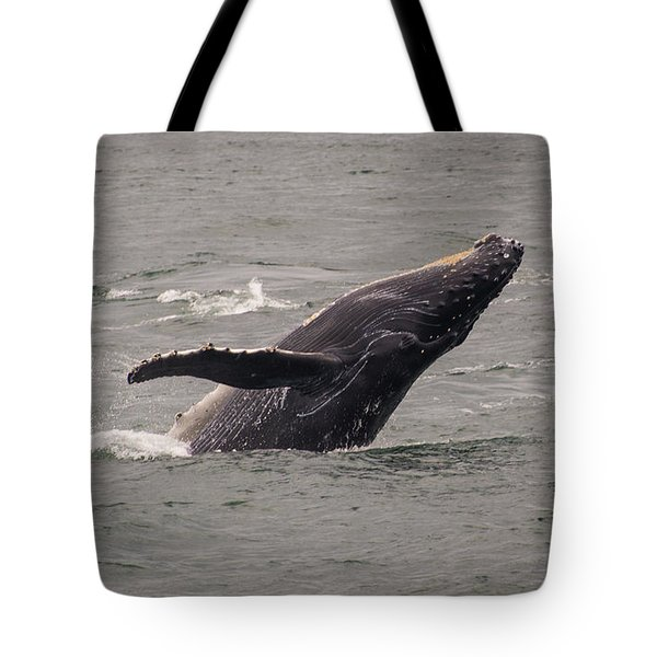 Tote Bag featuring the photograph Humpback Whale Breaching by Janis Knight
