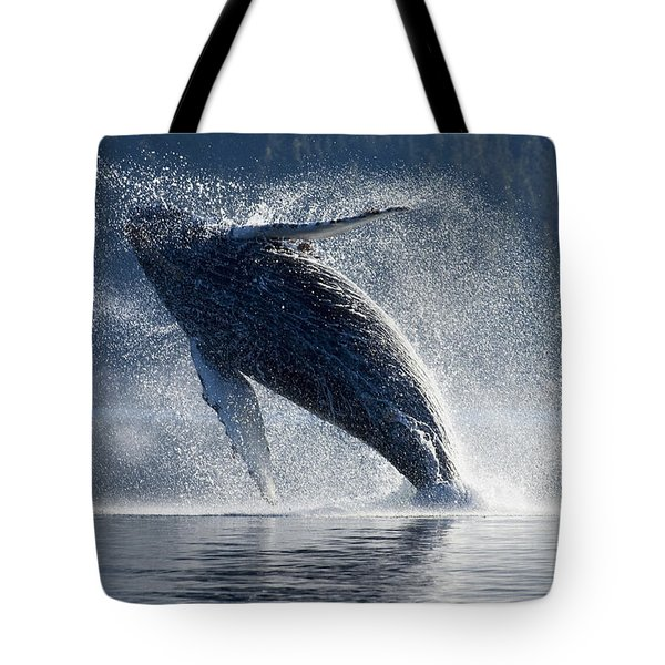 Humpback Whale Breaching In The Waters Tote Bag