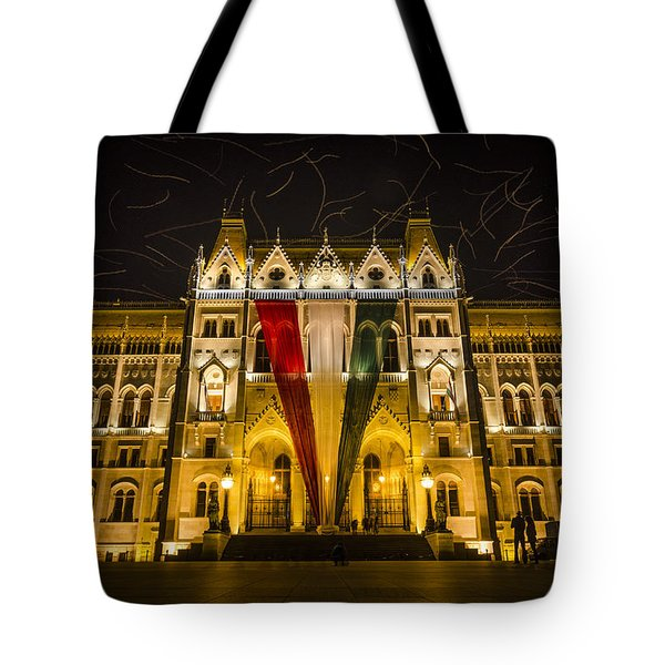 Hungarian Parliament At Night Tote Bag