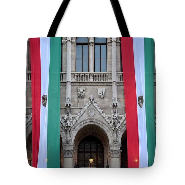Hungary Flag Hanging At Parliament Budapest Tote Bag